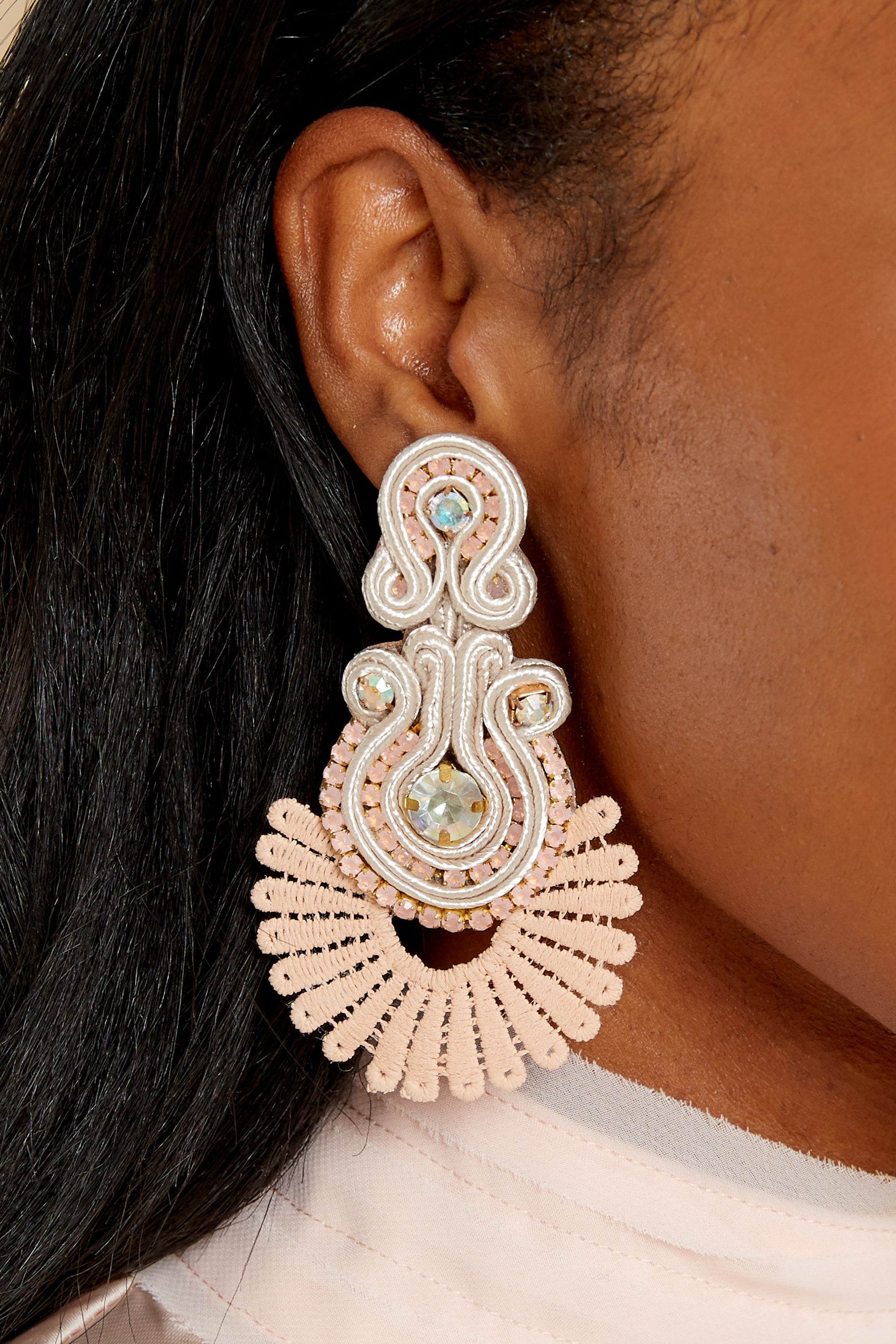 3 Go With It Beige Statement Earrings at reddress.com