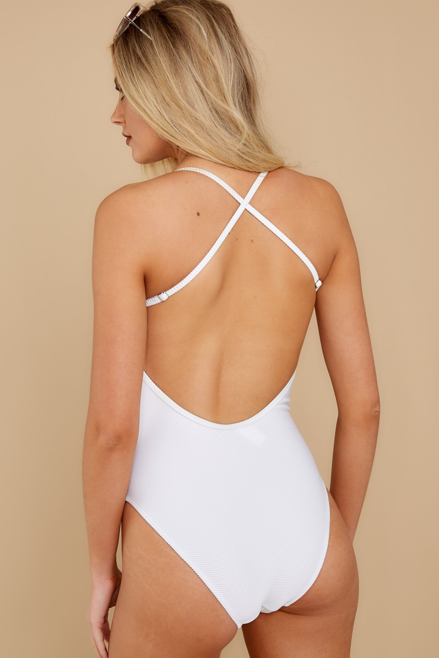 8 Swim For It White One Piece Swimsuit at reddress.com