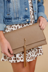 5 Downtown Baby Brown Tasseled Clutch at reddress.com