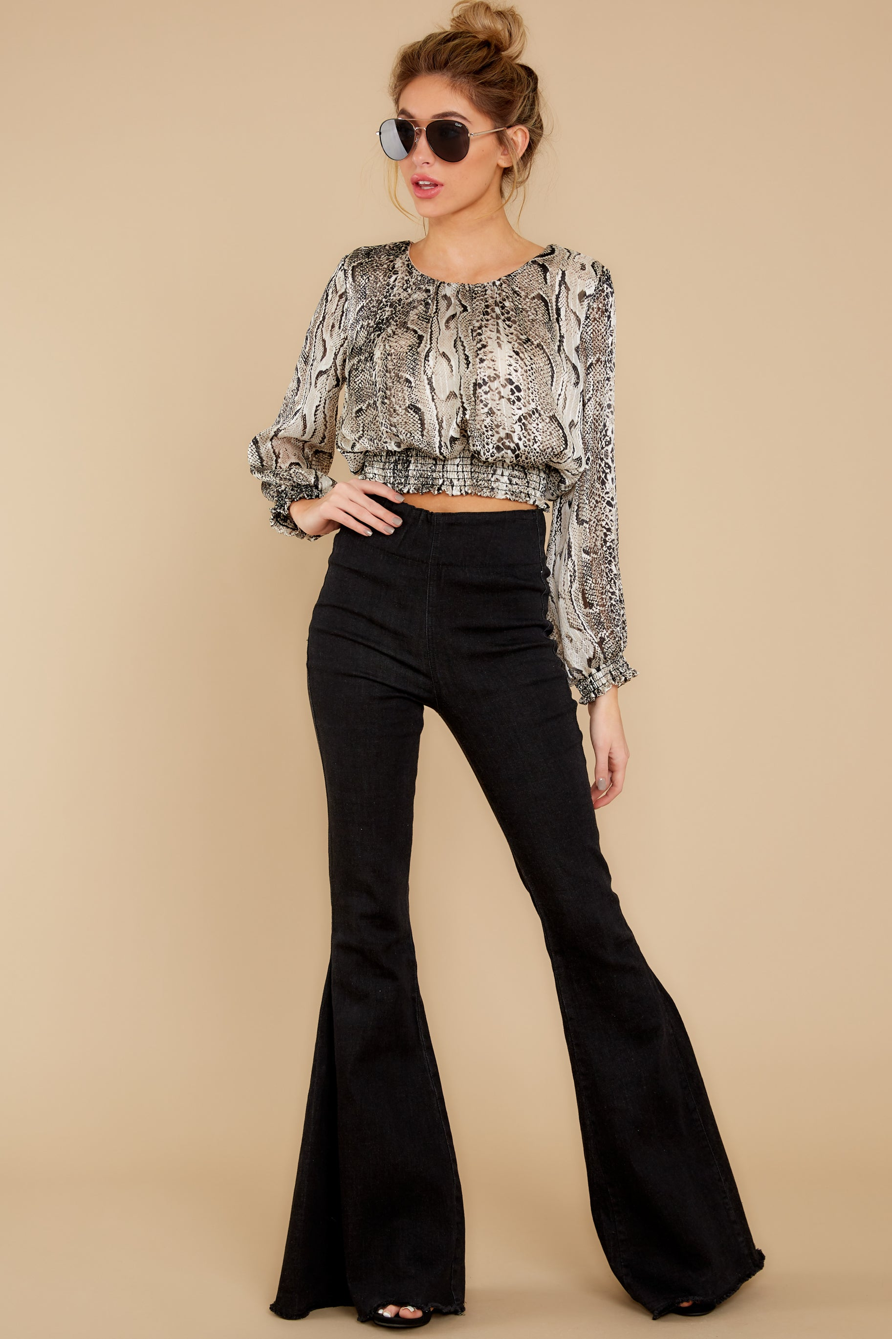 2 Sharp Feelings Taupe Snake Print Top at reddressboutique.com