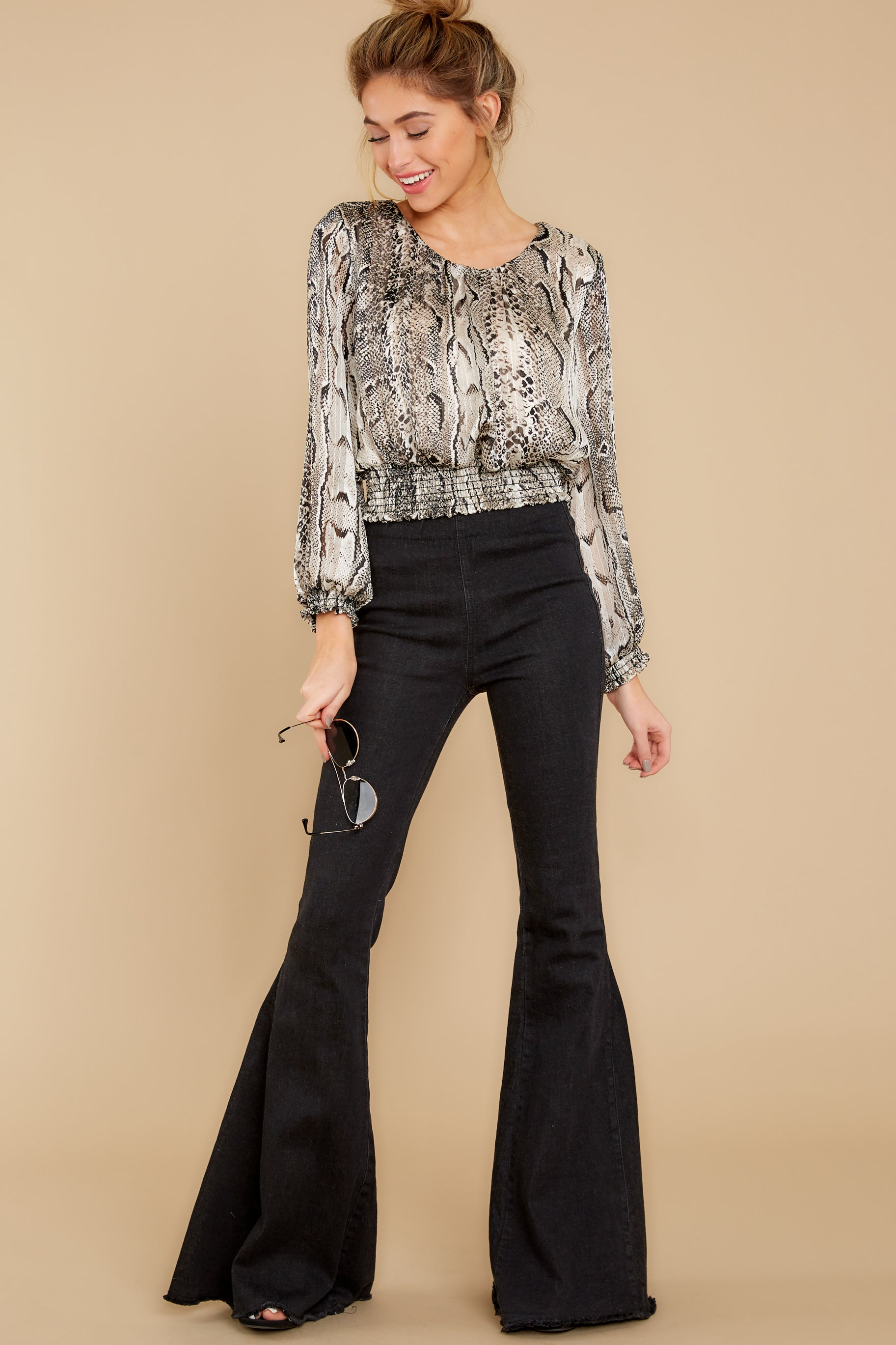 4 Sharp Feelings Taupe Snake Print Top at reddressboutique.com