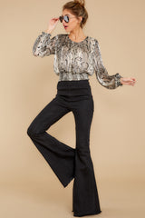 3 Sharp Feelings Taupe Snake Print Top at reddressboutique.com