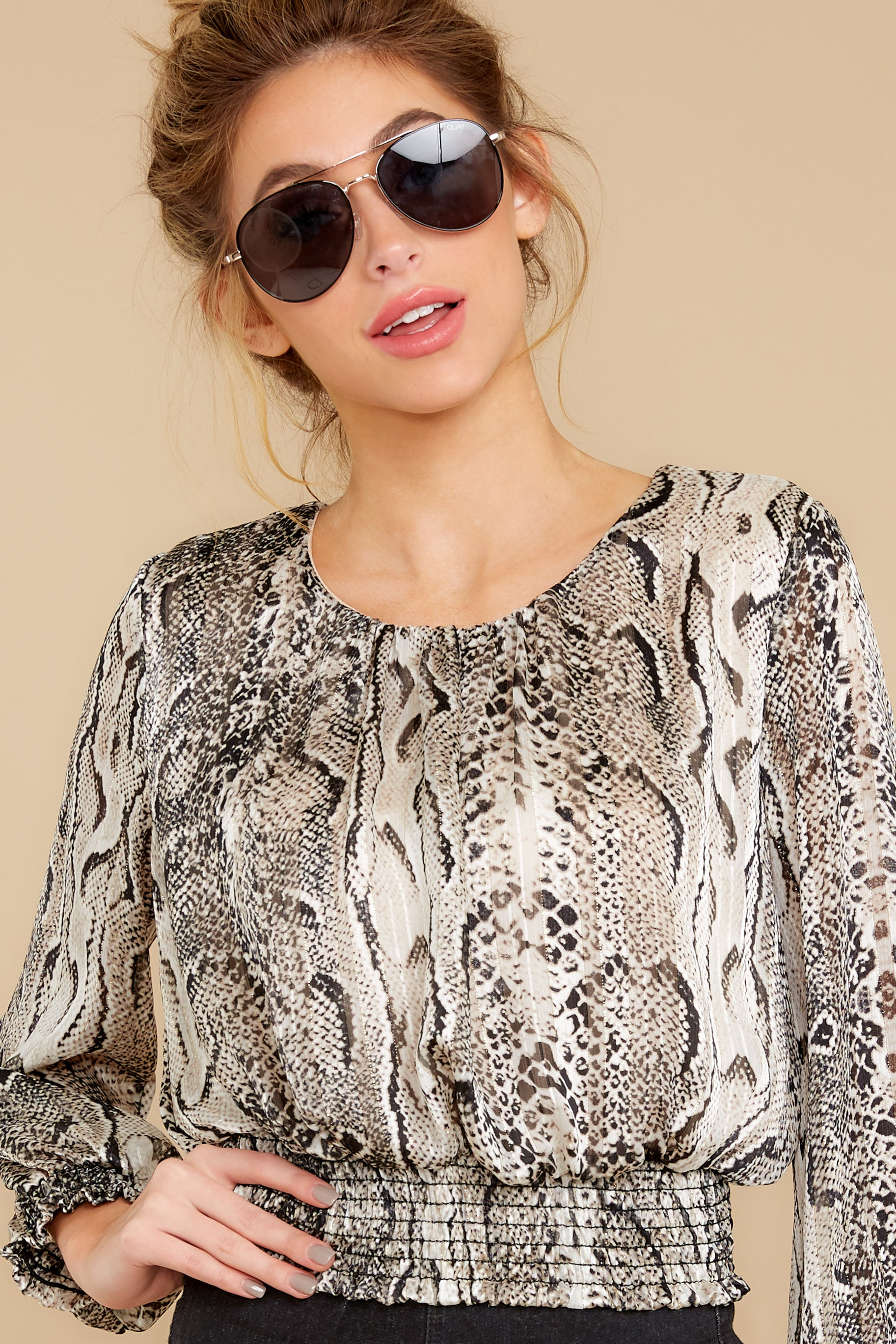 5 Sharp Feelings Taupe Snake Print Top at reddressboutique.com