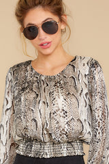 6 Sharp Feelings Taupe Snake Print Top at reddressboutique.com