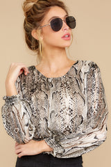7 Sharp Feelings Taupe Snake Print Top at reddressboutique.com