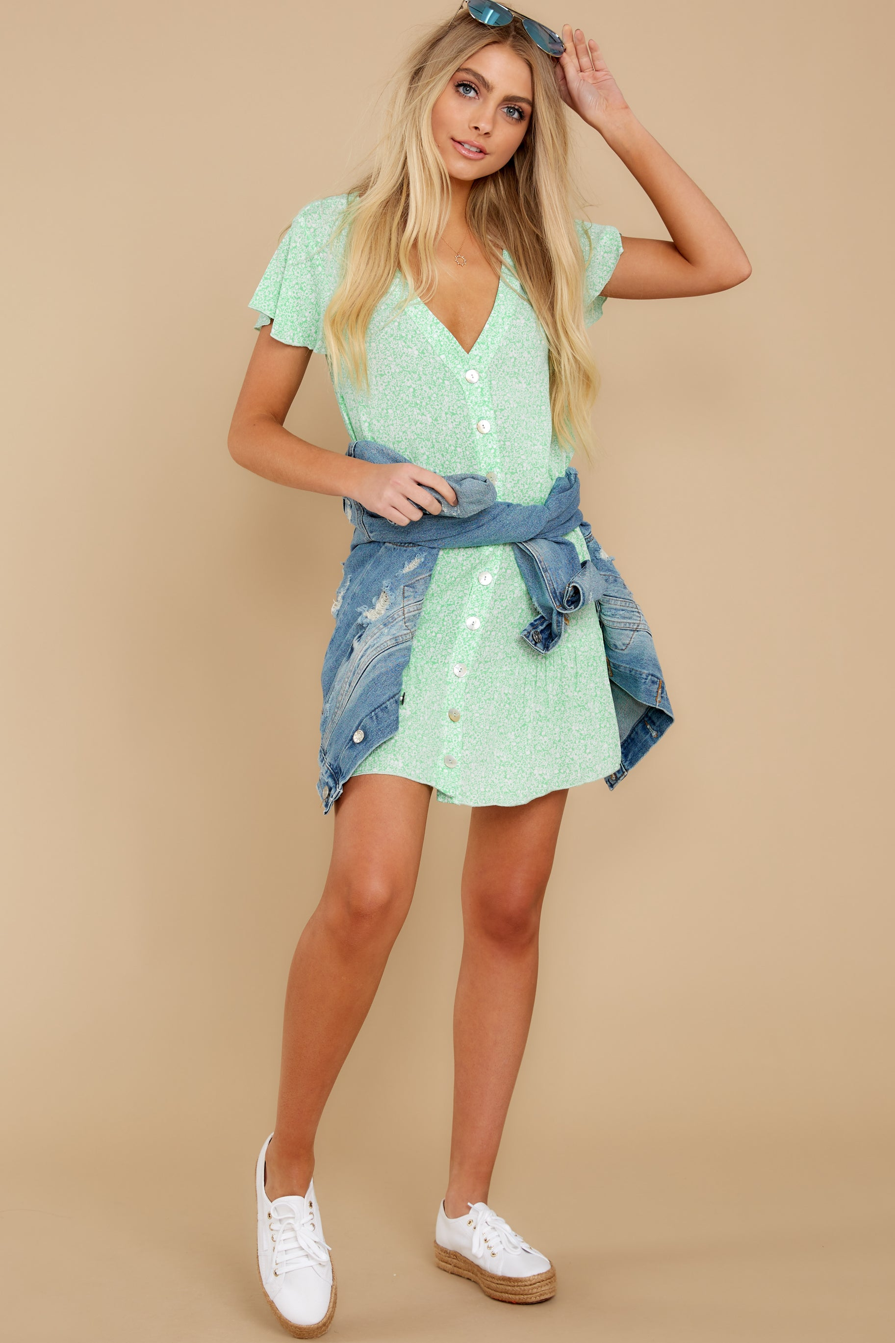 9 Moments Of Leisure Light Green Floral Print Dress at reddress.com