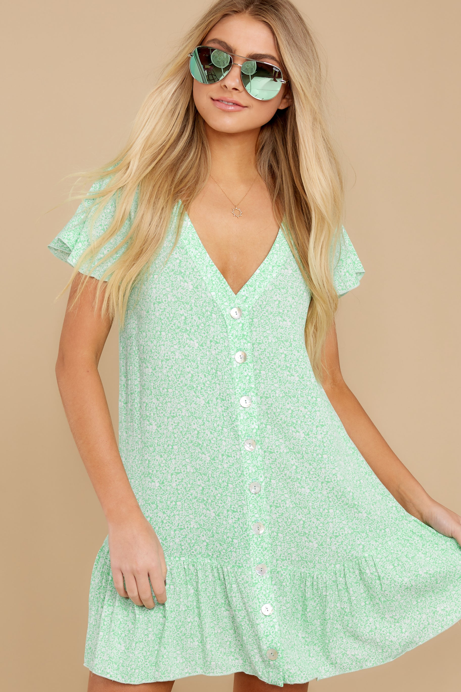 1 Moments Of Leisure Light Green Floral Print Dress at reddress.com