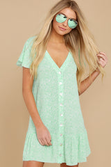 3 Moments Of Leisure Light Green Floral Print Dress at reddress.com