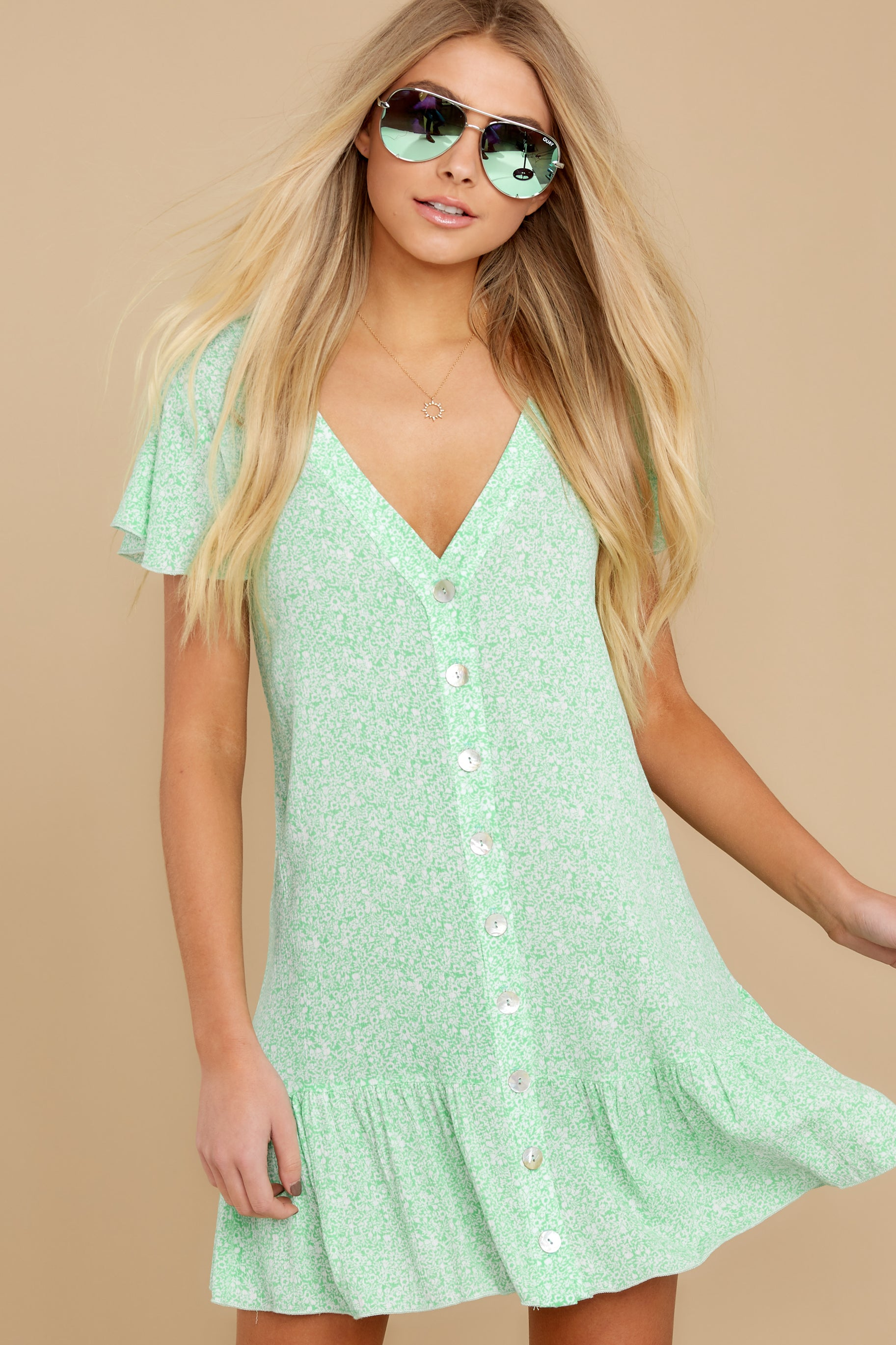 5 Moments Of Leisure Light Green Floral Print Dress at reddress.com