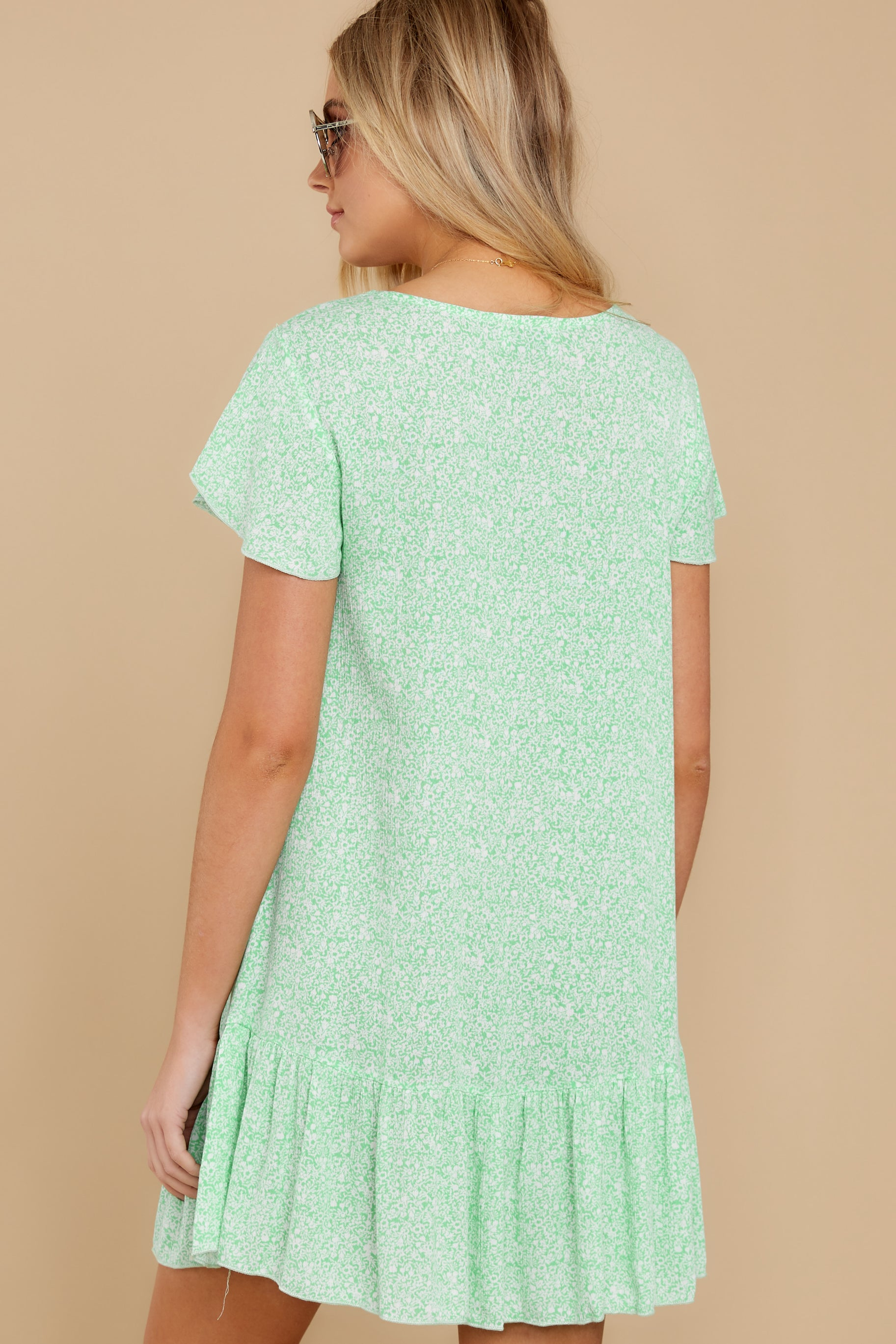 6 Moments Of Leisure Light Green Floral Print Dress at reddress.com