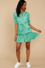 3 Fairy Gardens Kelly Green Floral Print Dress at reddress.com
