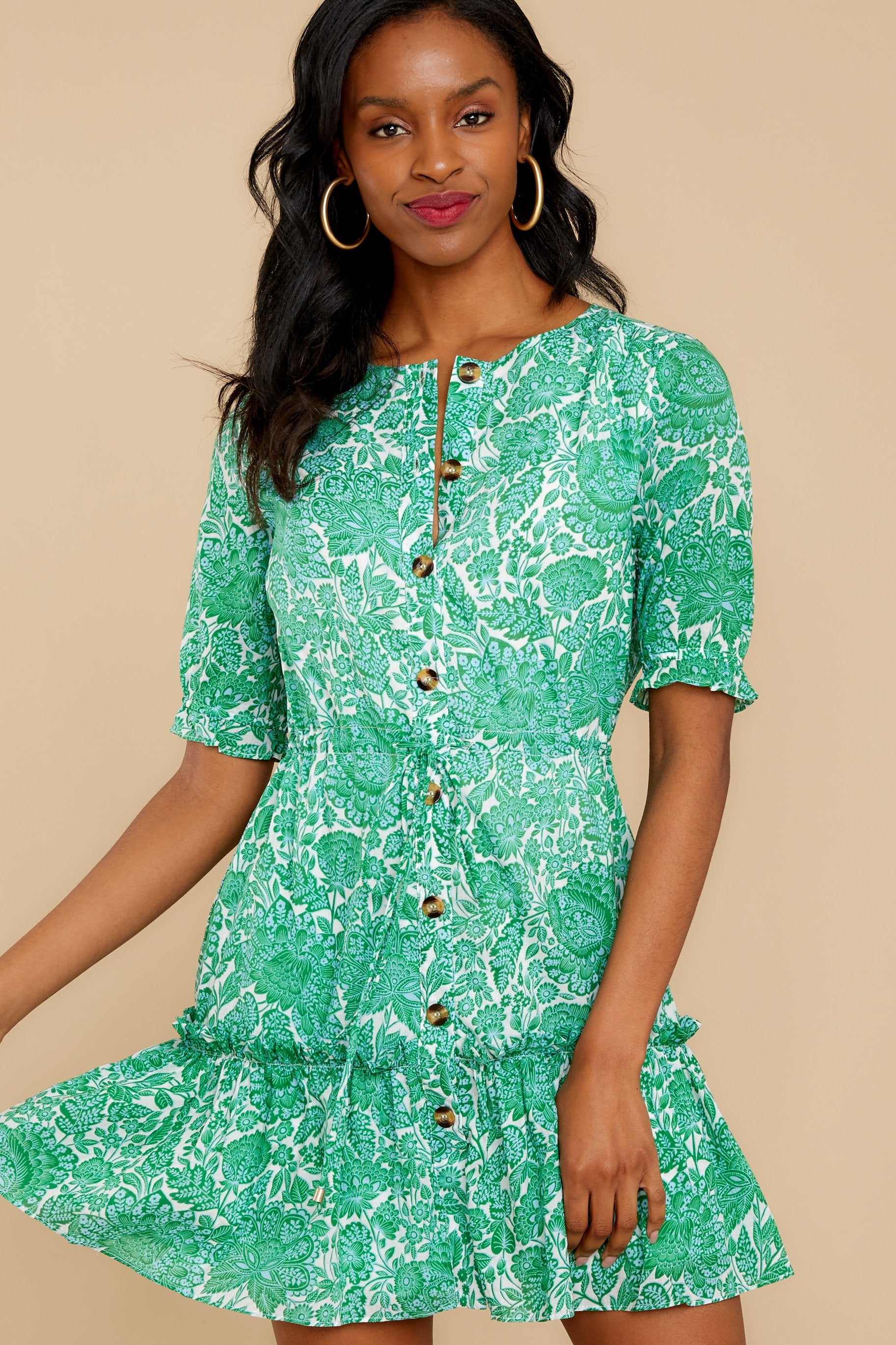 6 Fairy Gardens Kelly Green Floral Print Dress at reddress.com