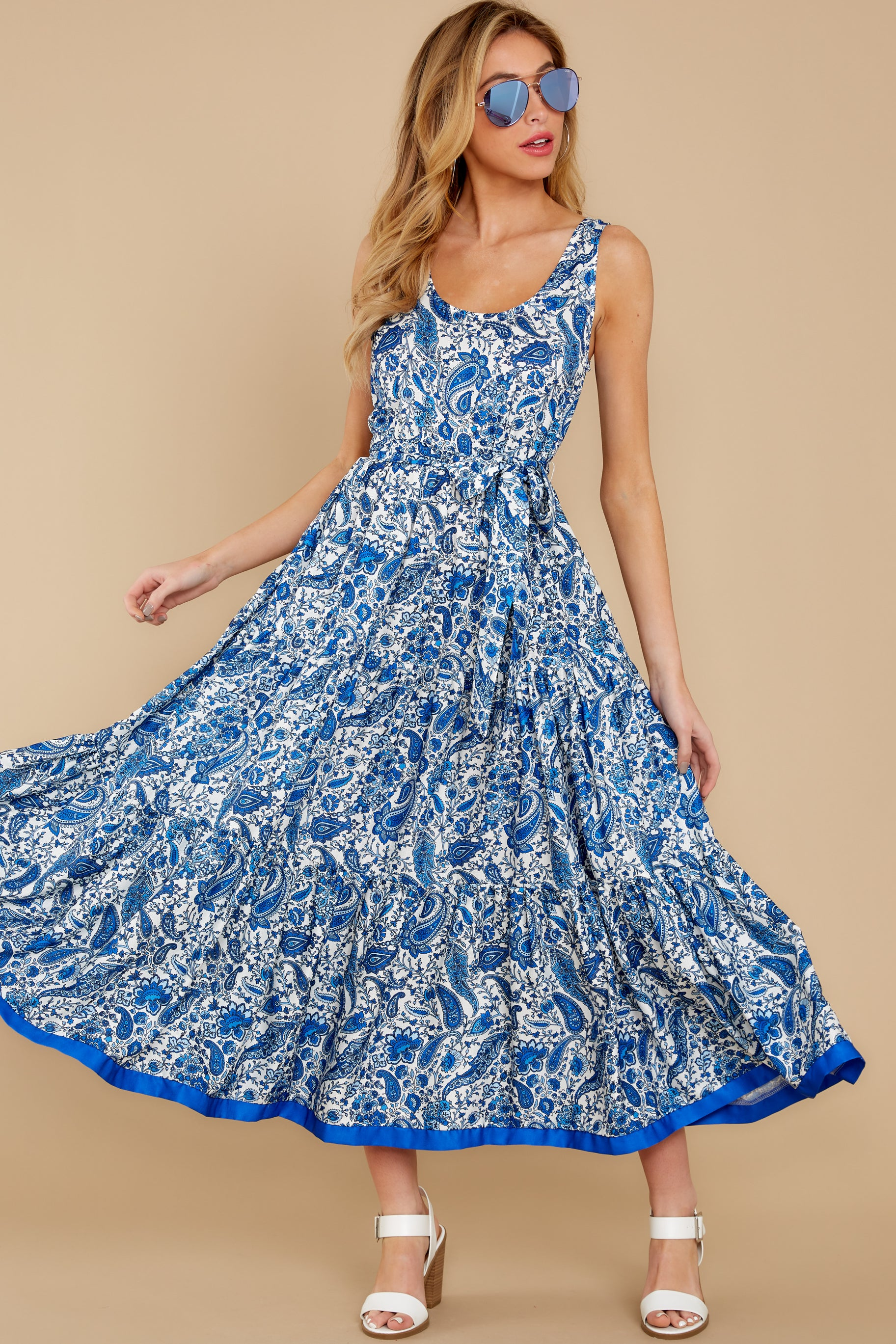 1 Noticing You Blue Multi Print Maxi Dress at reddress.com