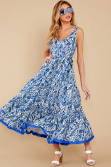 3 Noticing You Blue Multi Print Maxi Dress at reddress.com