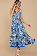 4 Noticing You Blue Multi Print Maxi Dress at reddress.com