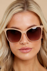 2 Glamorous Glance Beige Brown Fade Sunglasses at reddress.com