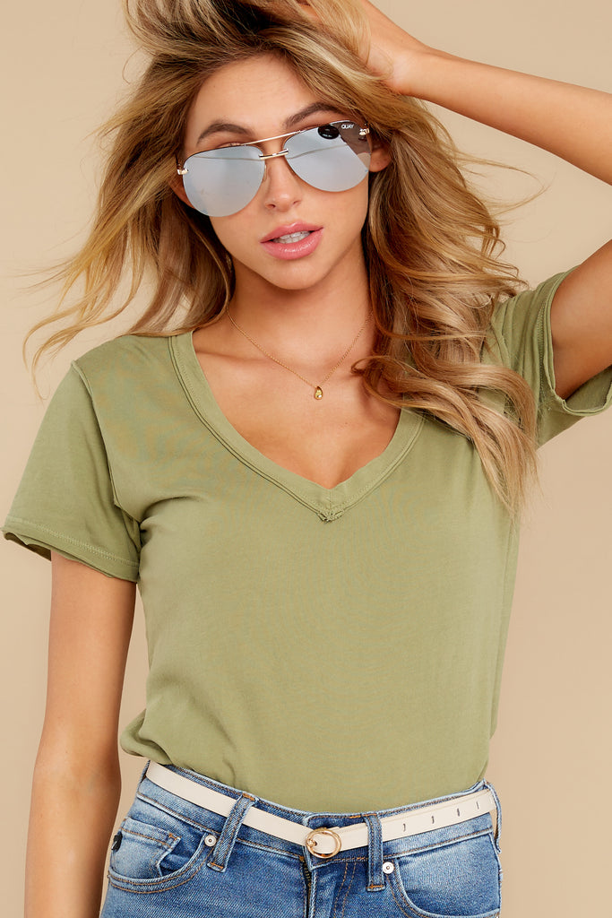 2  Mischa Sleek Ash Green V-Neck Tee at reddress.com