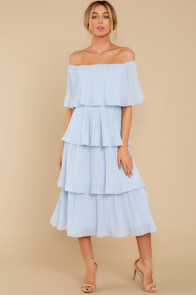 1 Looking Forward To Spring Blue Multi Off The Shoulder Midi Dress at reddress.com