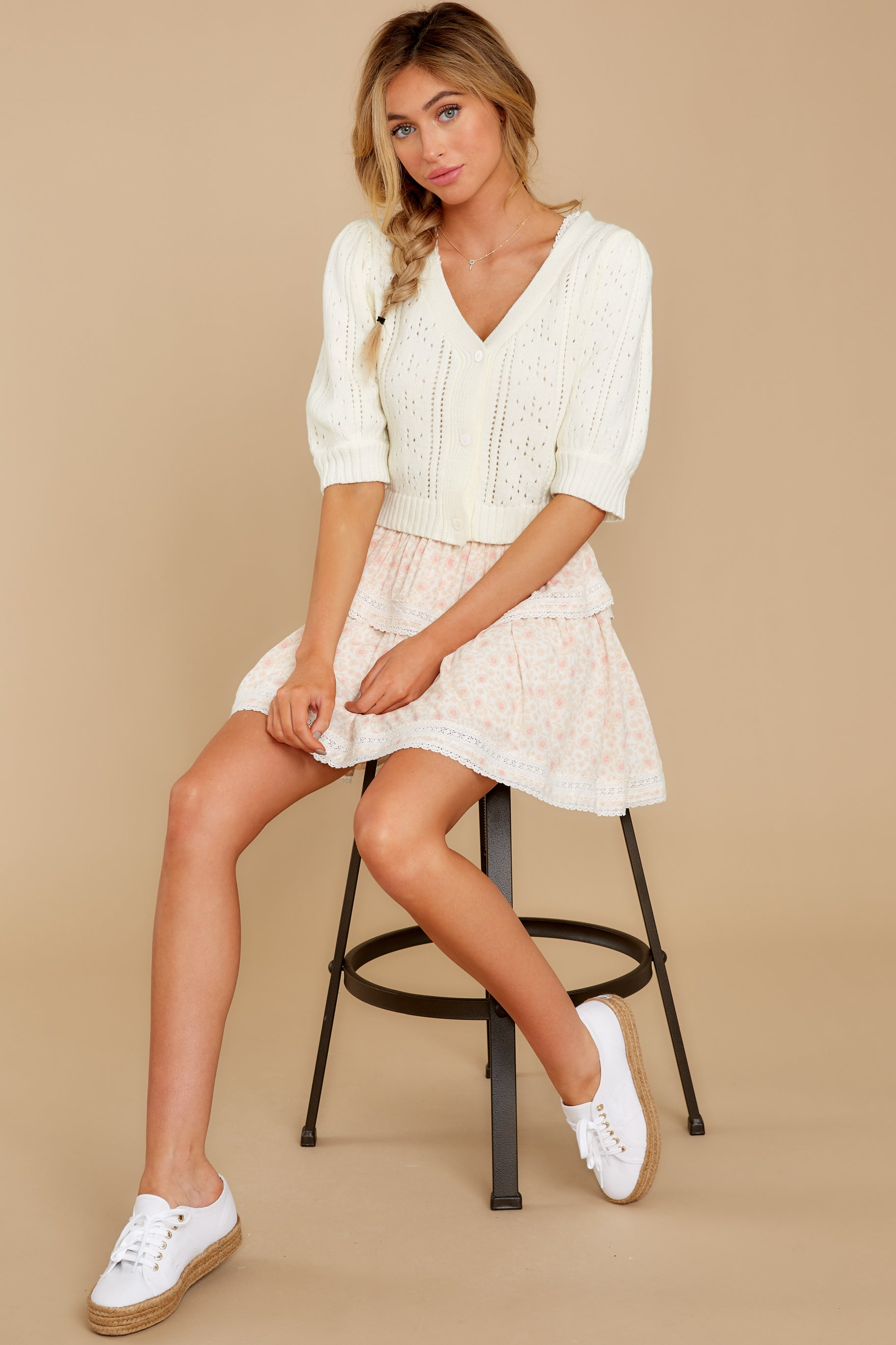 1930s Style Blouses, Shirts, Tops | Vintage Blouses Cue The Cute Ivory Crop Cardigan $28.00 AT vintagedancer.com