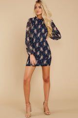 3 No Greater Love Navy Floral Print Dress at reddress.com
