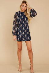 4 No Greater Love Navy Floral Print Dress at reddress.com