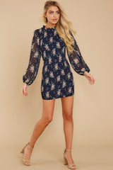 5 No Greater Love Navy Floral Print Dress at reddress.com