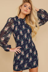 6 No Greater Love Navy Floral Print Dress at reddress.com