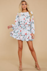 2 Oh So Sweet Light Blue Floral Print Dress at reddressboutique.com