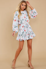 3 Oh So Sweet Light Blue Floral Print Dress at reddressboutique.com