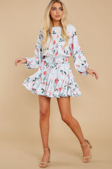 4 Oh So Sweet Light Blue Floral Print Dress at reddressboutique.com