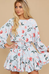 8 Oh So Sweet Light Blue Floral Print Dress at reddressboutique.com