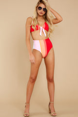 5 Ready For The Sun Red Multi Stripe Bikini Bottoms at reddress.com