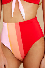 1 Ready For The Sun Red Multi Stripe Bikini Bottoms at reddress.com