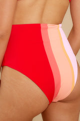 2 Ready For The Sun Red Multi Stripe Bikini Bottoms at reddress.com