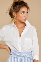 11 Not So Risky Business White Button Up Top at reddress.com