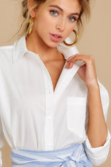 9 Not So Risky Business White Button Up Top at reddress.com