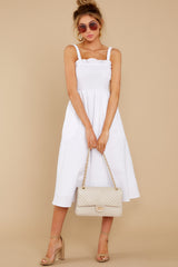 3 Right This Way White Midi Dress at reddressboutique.com