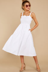 5 Right This Way White Midi Dress at reddressboutique.com