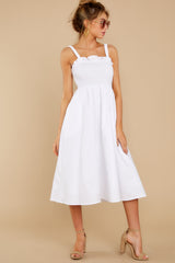 7 Right This Way White Midi Dress at reddressboutique.com