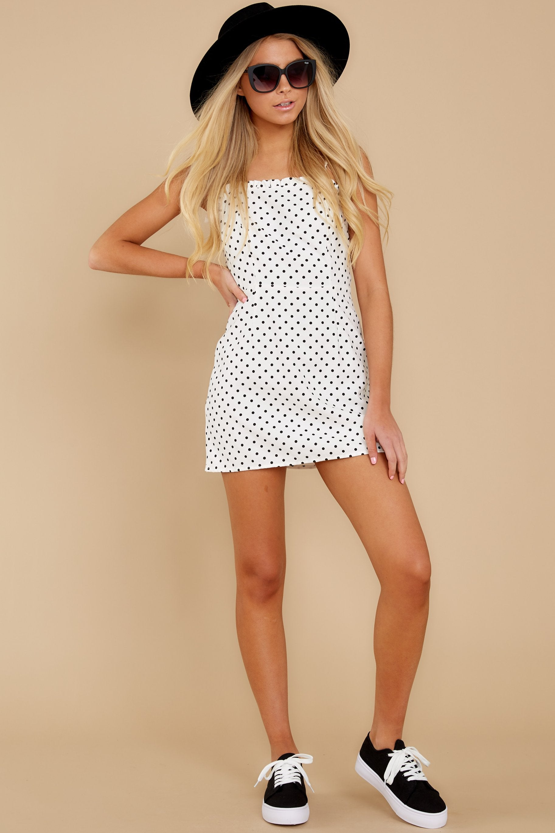 2 Came To Charm White Polka Dot Dress at reddressboutique.com