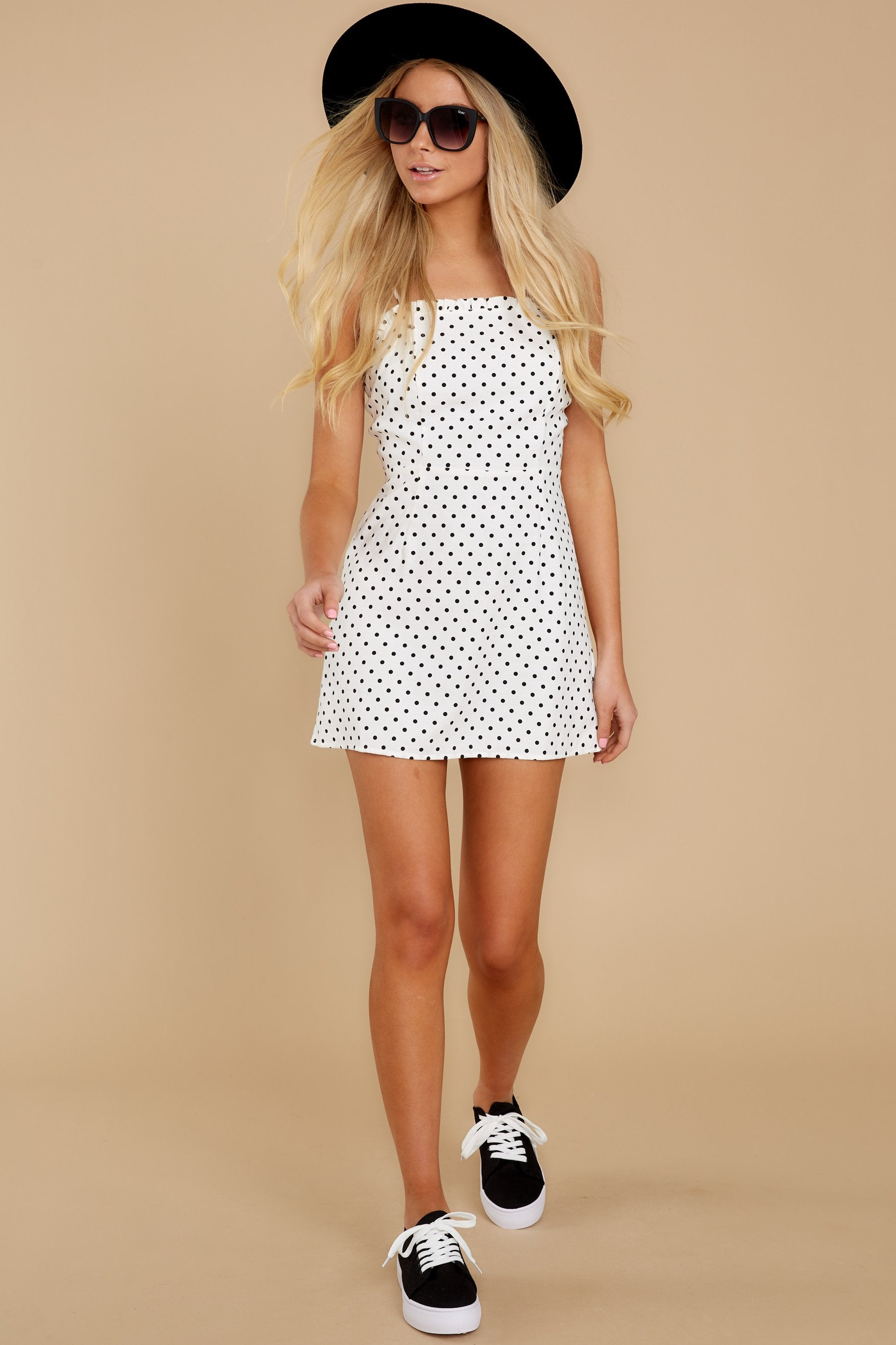 3 Came To Charm White Polka Dot Dress at reddressboutique.com