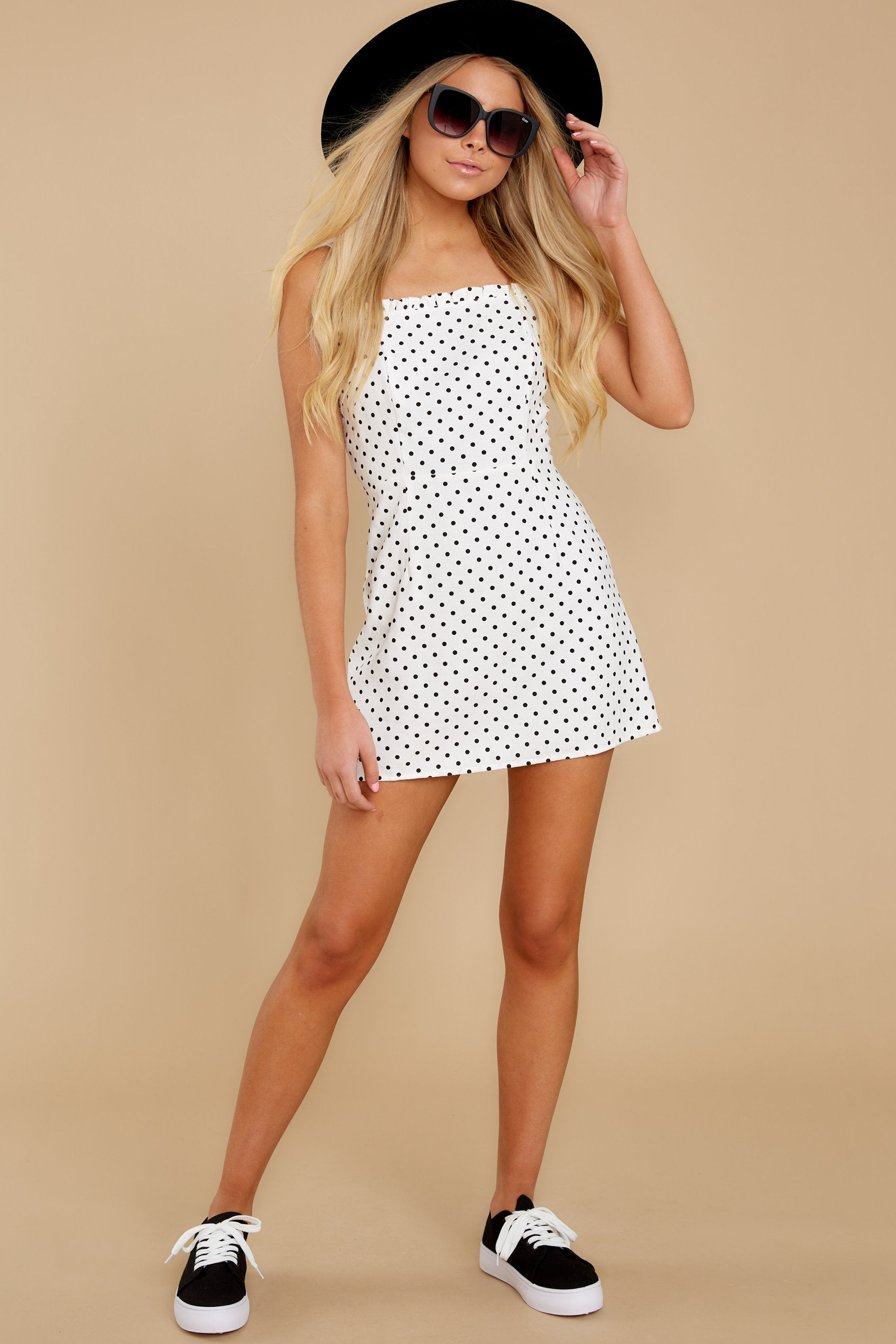 4 Came To Charm White Polka Dot Dress at reddressboutique.com