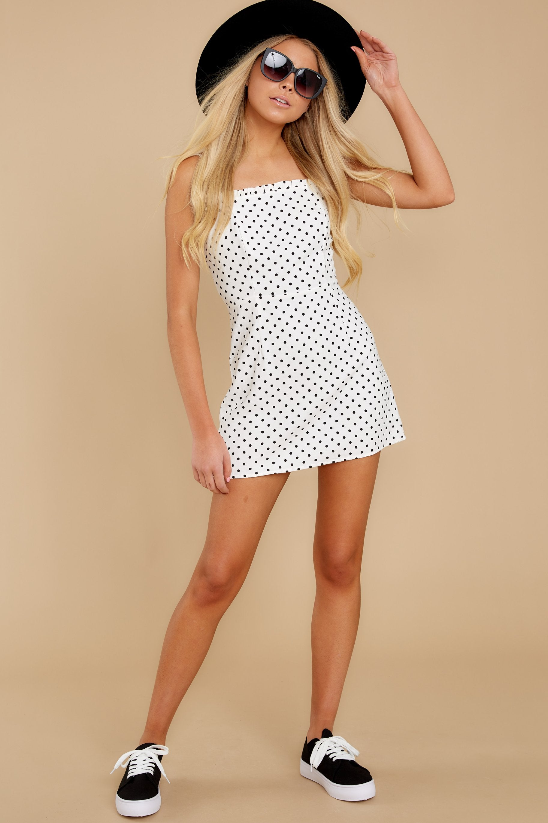 5 Came To Charm White Polka Dot Dress at reddressboutique.com