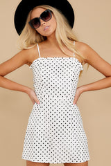 1 Came To Charm White Polka Dot Dress at reddressboutique.com