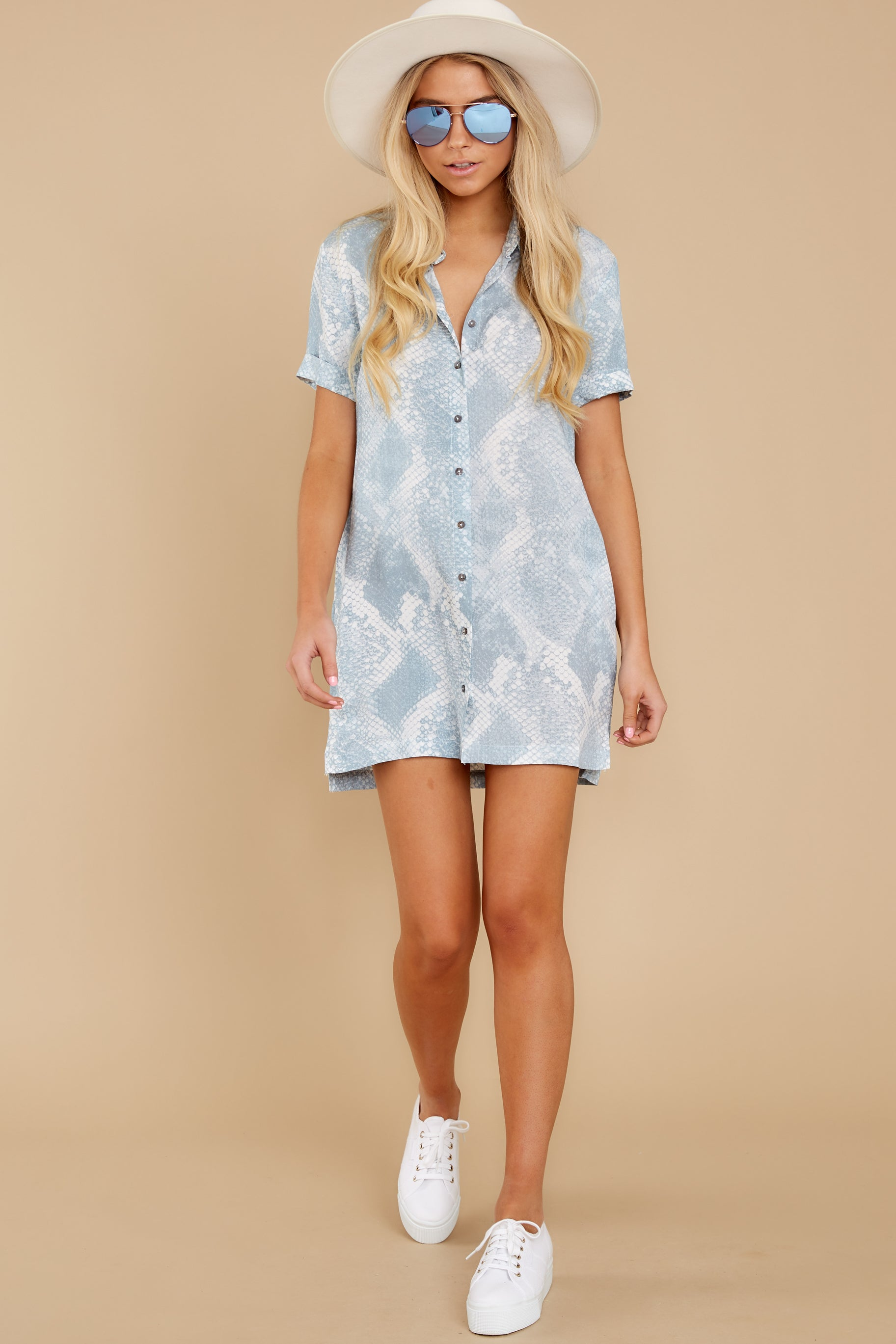 3 Meeting Family Light Blue Snake Print Button Up Tunic at reddress.com