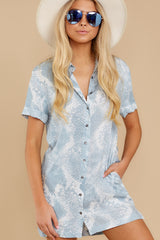 5 Meeting Family Light Blue Snake Print Button Up Tunic at reddress.com