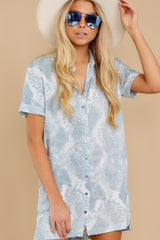 6 Meeting Family Light Blue Snake Print Button Up Tunic at reddress.com