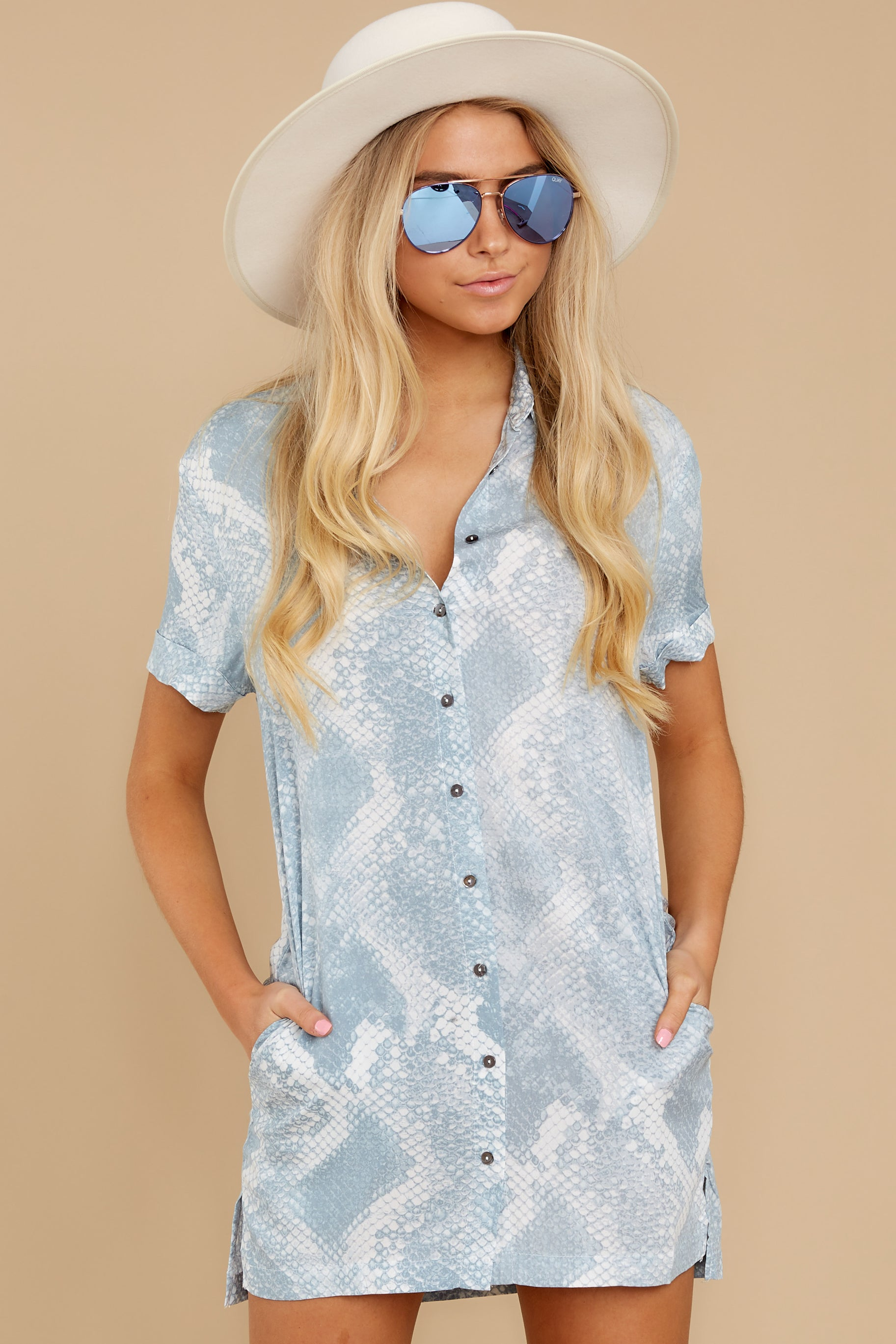 7 Meeting Family Light Blue Snake Print Button Up Tunic at reddress.com