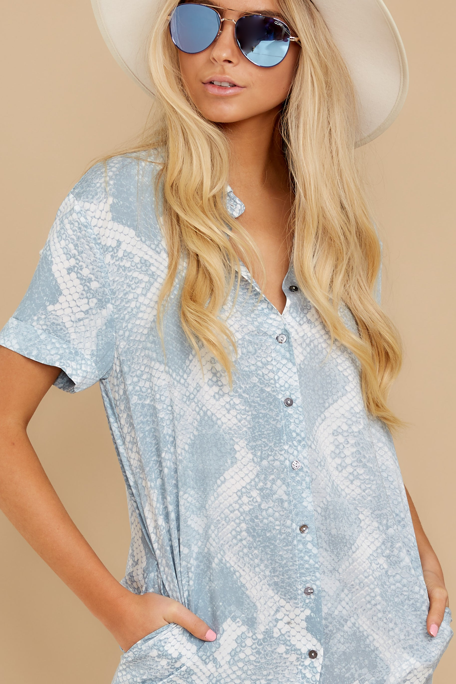 1 Meeting Family Light Blue Snake Print Button Up Tunic at reddress.com