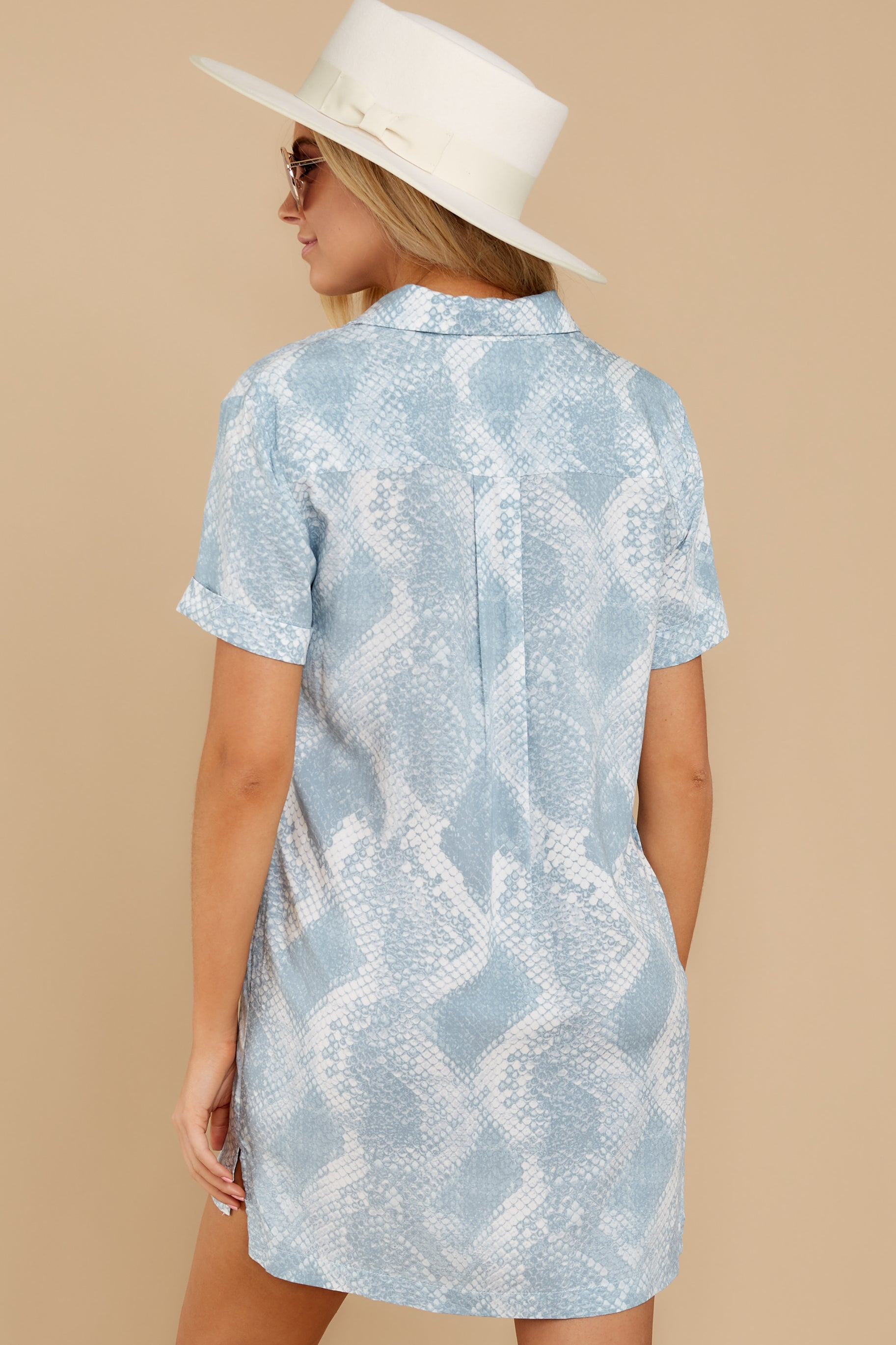 Meeting Family Light Blue Snake Print Button Up Tunic at reddress.com